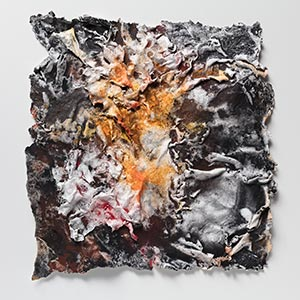 Abstract textural work on paper. Mainly orange and black colors. Title: Flammae Tenebrosae (Fires in the Darkness)