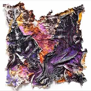 Abstract textural work on paper. Mainly purple colors. Title: Charta: Ater et Indicus
