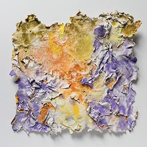 Abstract textural work on paper. Mainly yellow, orange, and purple colors. Title: Solstitium (Summer Solstice)